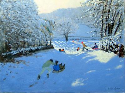 Pushing the Sledge, Youlgreave-Andrew Macara-Giclee Print