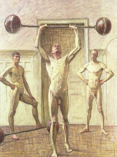 Pushing Weights with Two Arms, Number 3, 1914-Eugene Jansson-Giclee Print