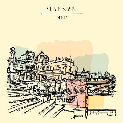 Pushkar, Rajasthan, India. Brahma Ghat. Colored Vintage Touristic Postcard, Poster Template, Calend-babayuka-Art Print