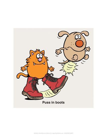 Puss In Boots - Antony Smith Learn To Speak Cat Cartoon Print-Antony Smith-Art Print