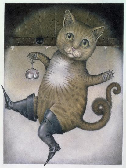 Puss in Boots Doing a Somersault-Wayne Anderson-Giclee Print