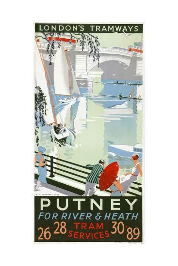 Putney, for River and Heath, London County Council (LC) Tramways Poster, 1932-RF Fordred-Giclee Print