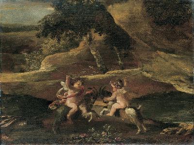 Putti Fighting on Goats-Nicolas Poussin-Giclee Print