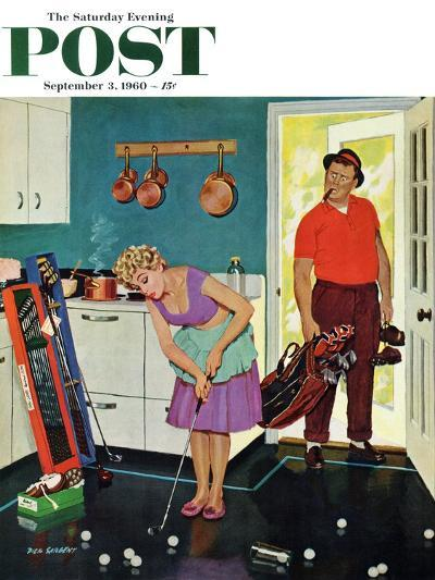 """""""Putting Around in the Kitchen,"""" Saturday Evening Post Cover, September 3, 1960-Richard Sargent-Giclee Print"""