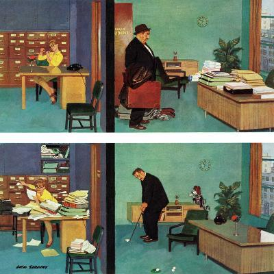 """""""Putting Time in the Office,"""" February 18, 1961-Richard Sargent-Giclee Print"""