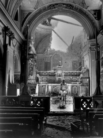 Pvt. Paul Oglesby, 30th Infantry, Standing in Reverence Before Altar in Damaged Catholic Church- Benson-Photographic Print
