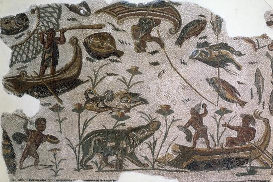 Pygmies, Fish, Ducks and Hippopotamus, Detail from Mosaic Depicting Nilotic Landscape--Giclee Print