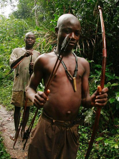 Pygmy Young Men Armed with Bows and Arrows Hunt--Photographic Print