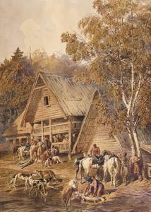 The Huntsmen, 1863 by Pyotr Petrovich Sokolov