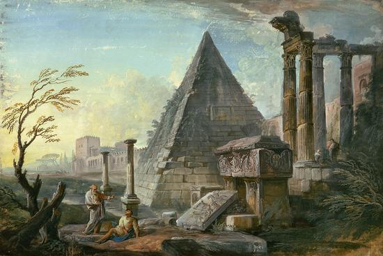 Pyramid of Caius Cestius at Rome-Jean-Baptiste Lallemand-Giclee Print