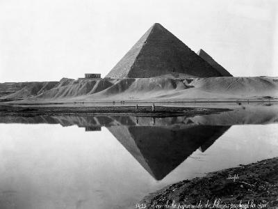 Pyramid of Cheops Reflected in Nile River--Photographic Print