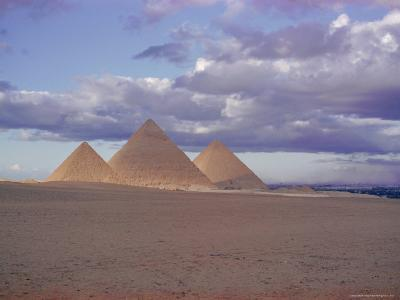 Pyramid of Menkewre (Left), Pyramid of Chephren (Centre), Pyramid of Cheops (Right), Giza, Egypt-Walter Rawlings-Photographic Print