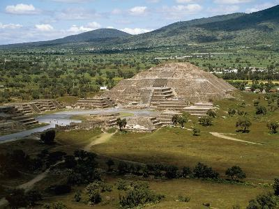 Pyramid of Moon Seen from Pyramid of Sun, Teotihuacan--Photographic Print