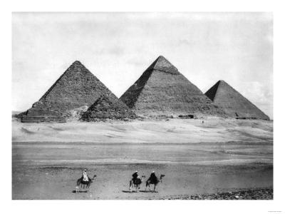 Pyramids and Three Riders on Camels Photograph - Egypt-Lantern Press-Art Print