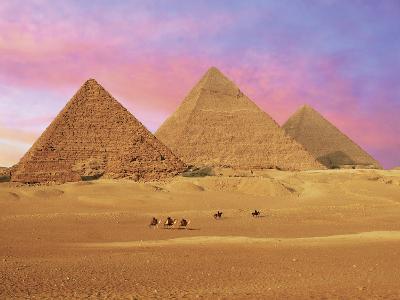 Pyramids at Sunset, Giza, Cairo, Egypt-Miva Stock-Photographic Print