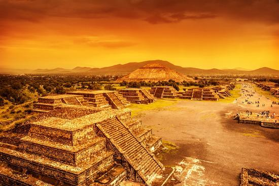 Pyramids of the Sun and Moon on the Avenue of the Dead, Teotihuacan Ancient Historic Cultural City,-Anna Omelchenko-Photographic Print
