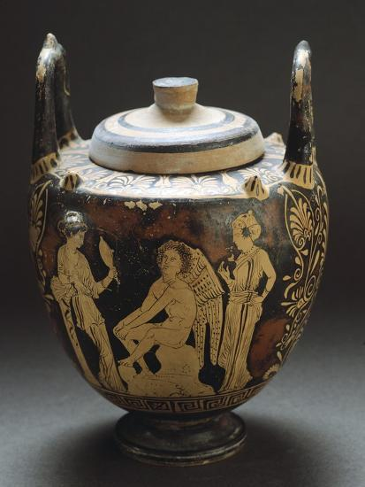 Pyx Representing Eros in Mirror, Red-Figure Pottery from Workshop of Taranto, Apulia, Italy BC--Giclee Print