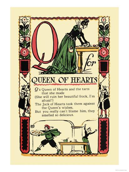Q for Queen of Hearts-Tony Sarge-Art Print