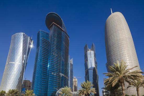 Qatar, Doha, Doha Bay, West Bay Skyscrapers from the Corniche, Morning-Walter Bibikow-Photographic Print