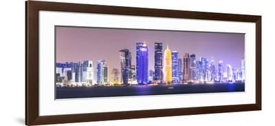 Qatar, Doha. Skyline with Skyscrapers, at Night from the Corniche-Matteo Colombo-Framed Photographic Print