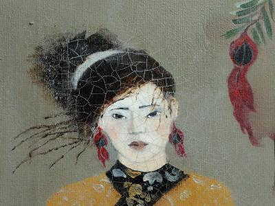 Qing Dynasty Women with Flowers, 2016 (Detail)-Susan Adams-Giclee Print