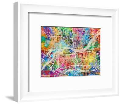 Quad Cities Street Map-Michael Tompsett-Framed Photographic Print