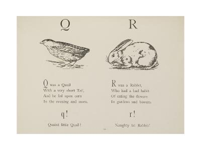 Quail and Rabbit Illustrations and Verse From Nonsense Alphabets by Edward Lear.-Edward Lear-Giclee Print