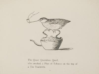 Quail Perched On Teapot, Smoking a Pipe From a Collection Of Poems and Songs by Edward Lear-Edward Lear-Giclee Print