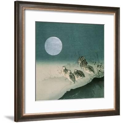 Quails and Full Moon, C.Early 1900s-Tsukioka Kogyo-Framed Giclee Print