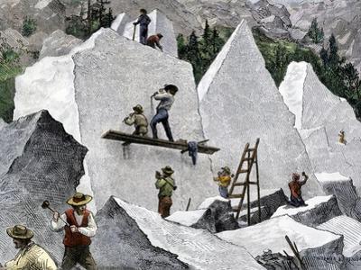 Quarrying Stone for the Mormon Temple in Salt Lake City, Utah, 1870s