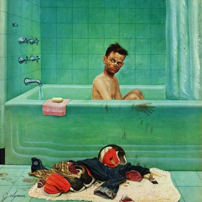 """Quarterback in the Tub"", November 15, 1952-John Clymer-Giclee Print"