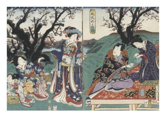 Quartier des maisons de plaisir à l'aube-Utagawa Kunisada-Giclee Print