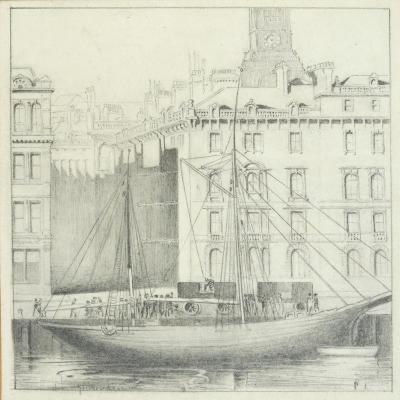 Quayside, Newcastle (Pencil on Card)-John R. Henderson-Giclee Print