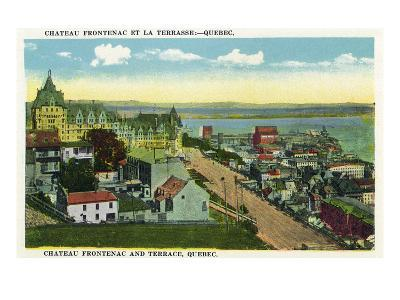 Quebec, Canada - Chateau Frontenac and Terrace Scene-Lantern Press-Art Print