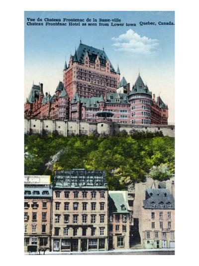 Quebec, Canada, Exterior View of the Chateau Frontenac from Lower Town-Lantern Press-Art Print