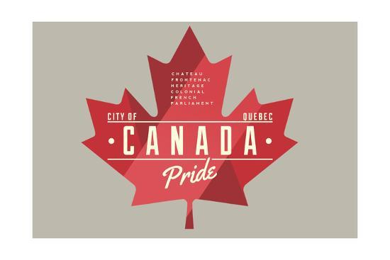 Quebec, Canada Pride - Red Maple Leaf Typography-Lantern Press-Art Print