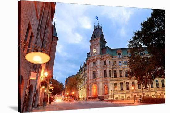 Quebec City Old Street at Dusk--Stretched Canvas Print