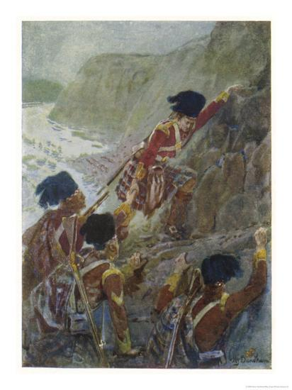Quebec: The British Troops Scale the Heights of Abraham-Henry Sandham-Giclee Print