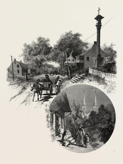 Quebec, Wayside Cross and Beauport Church, Canada, Nineteenth Century--Giclee Print