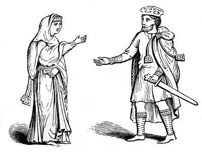 Queen Alfgyfe and King Canute, 11th Century--Giclee Print