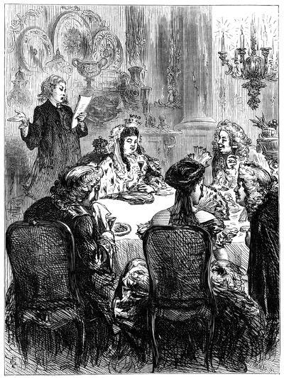 Queen Anne (1665-171) and the Ballad Writer-W Thomas-Giclee Print