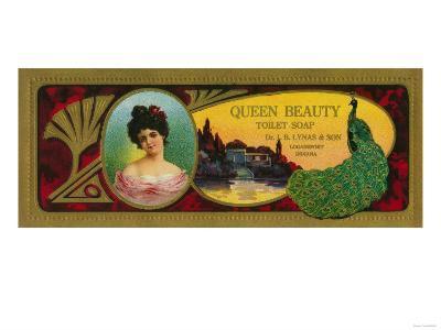 Queen Beauty Soap Label - Logansport, IN-Lantern Press-Art Print