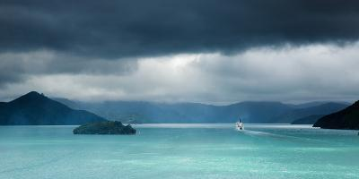 Queen Charlotte Sound with a Ferry Boat Navigating its Way Through to Cook Straits-Garry Ridsdale-Photographic Print