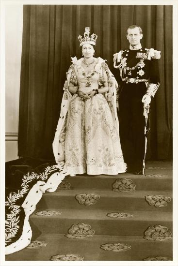 Queen Elizabeth and Prince Philip--Art Print