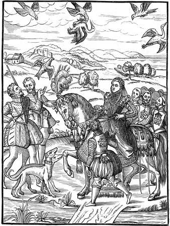 Queen Elizabeth I and Her Attendants Out Hawking, 1575--Giclee Print