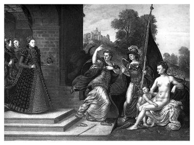 Queen Elizabeth I, Juno, Venus and Minerva, 1569- Valadon & Co Boussod-Giclee Print