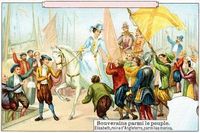Queen Elizabeth I Mingling with the Sailors of Her Navy--Giclee Print