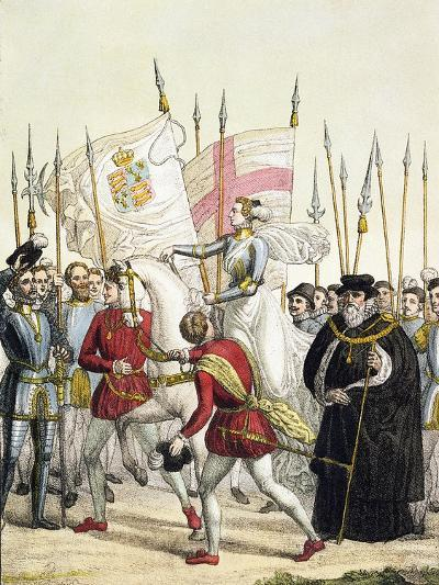 Queen Elizabeth I Rallying the Troops at Tilbury Before the Arrival of the Spanish Armada, 1588- Bramati-Giclee Print
