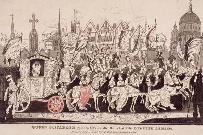Queen Elizabeth I Travelling by Coach to St Paul's after the Defeat of the Spanish Armada, C1840--Giclee Print