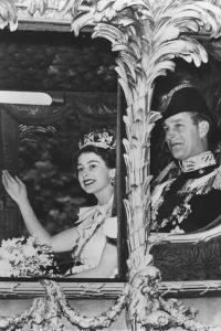 Queen Elizabeth II and Duke of Edinburgh in the State Coach, the Coronation, 2nd June 1953